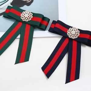 GUCCI brooch red blue crystals pearls stripes